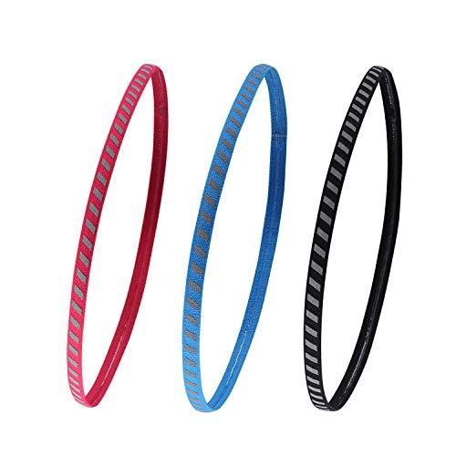 TAGVO 3 Stücke Yoga Sport Stirnband rutschfeste Elastisches Athletisches Athletisches Haarband Feuchtigkeitstransport Kopfband Leichtgewichts Fitness Stirnbänder für Damen und Herren