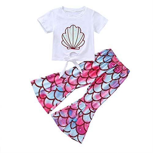 Mädchen Kleider Set Sommer Kleinkind Kurzarm Cartoon Print Tops Shirt + Hosen Outfit