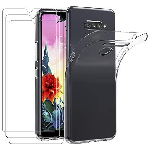 iVoler Custodia Cover per LG K50s 2019 + 3 Pezzi Pellicola Vetro Temperato, Ultra Sottile Morbido TPU Trasparente Silicone Antiurto Protettiva Case per LG K50s 2019