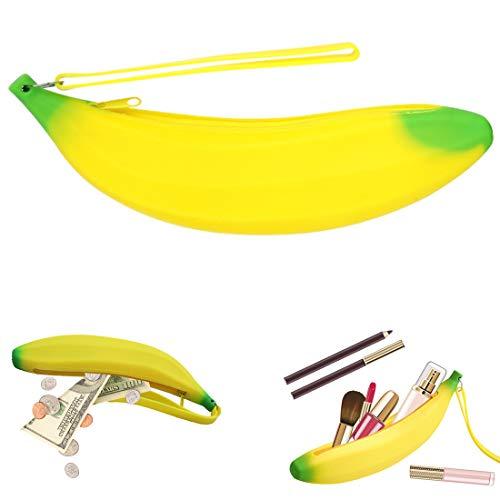 lotusflowert Cute Silicone Banana Shape Pencil Case bag Coin Bag Key PouchYellow