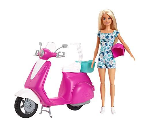 Barbie - Muñeca y Moto Scooter de juguete con accesorios (Mattel GBK85)