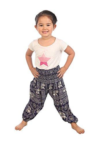 Lofbaz Bébé Hippie Gypsy Child Timbre d'éléphant Thaïlandais Pantalons Bohémiens Bleu foncé Taille 0-3M