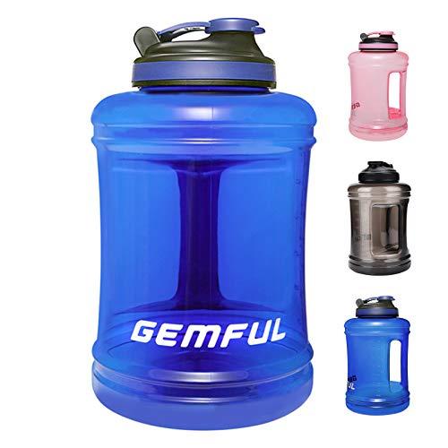 GEMFUL Botella de agua deportiva grande de 84 onzas sin BPA (azul)