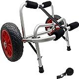 WXFCAS Chariot de chariot de canoë pliable, chariot de kayak en alliage d'aluminium, kayak? Carrier de chargement de chariot de transport sur roues avec pansement, pour les amateurs de canoë et de kay