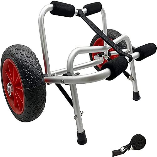 WXFCAS Chariot de chariot de canoë pliable, chariot de kayak en alliage d aluminium, kayak? Carrier de chargement de chariot de transport sur roues avec pansement, pour les amateurs de canoë et de kay