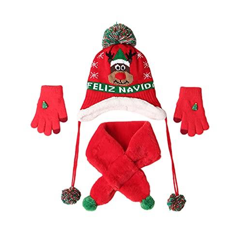 Snaked cat Guantes de Navidad para bufanda, 3 unidades, para niños pequeños, Papá Noel, muñeco de nieve, árbol de ciervos, diseño de pompón, Cervino rojo, Talla única