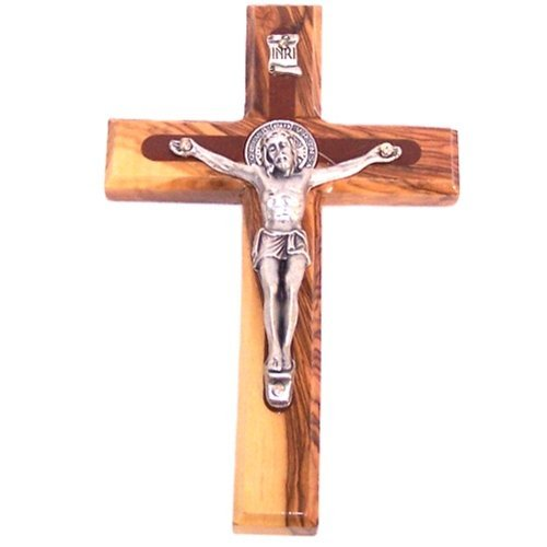 Holylandmarket Kruzifix Heiliger Benedikt aus Bethlehem aus Olivenholz mit hochwertigem Korpus und Heiliger Benedikt Medaille von vorne und hinten, 14 cm