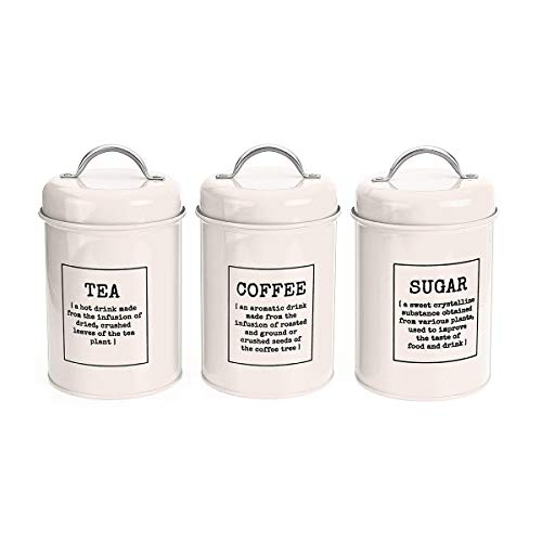 xingxing Storage & Organization - Juego de 3 depósitos de almacenamiento para té, café, azúcar, lata de acero inoxidable (color: blanco)