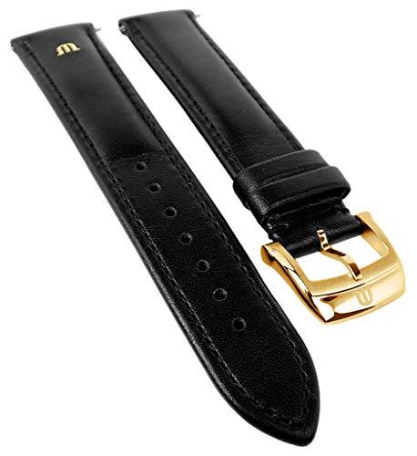 Maurice Lacroix Eliros Elegant | Kalbsleder Uhrenarmband, schwarz, versenktes Emblem 33351, Stegbrei