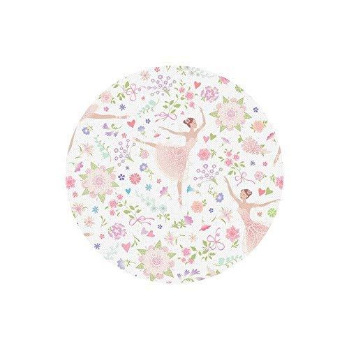 Bailarinas de Bailarina de Ballet Rosa sobre Fondo Floral Alfombrilla de ratón Redonda de Goma Alfombrillas de ratón Alfombrillas Funda