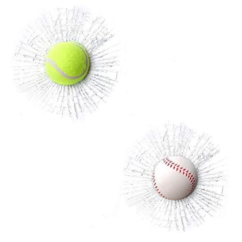 Ooscy 2Pcs 3D Glas Cracked Glass Aufkleber Baseball Broken Glass Aufkleber Lustige Auto Aufkleber Tennisball Streich Zeug Cracked Glas Aufkleber Auto Fenster Aufkleber