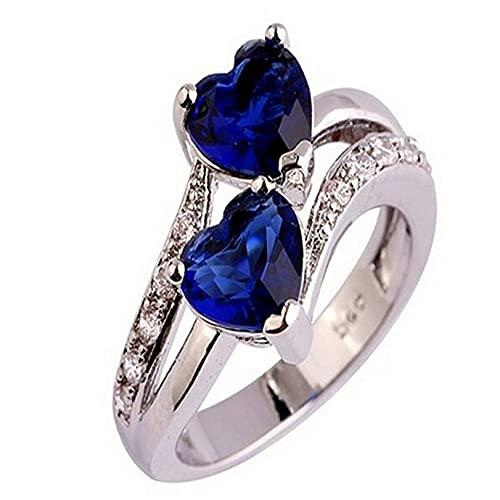 GLJYG Anillo de compromiso con corazón de circonita, piedras preciosas, anillo de compromiso, aniversario, regalo para tu esposa o novia