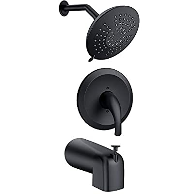 Bathtub Faucet Dual-function Bathtub Faucet Kit (with Valve) and Shower Accessory Kit with Single-jet Shower Head and Pressure Balance Valve, Matte Black