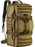 Protector Plus Tactical Travel Backpack 60L Military MOLLE Duffel Bag Luggage Suitcase Hiking Camping Outdoor Rucksack (Rain Cover & Patch Included), Brown