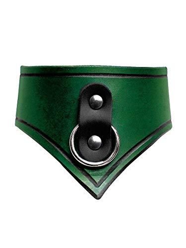 Andracor - handgearbeitetes Sklaven-Halsband aus echtem Leder - Grün - LARP, Wikinger, Fantasy, Mittelalter & Steampunk