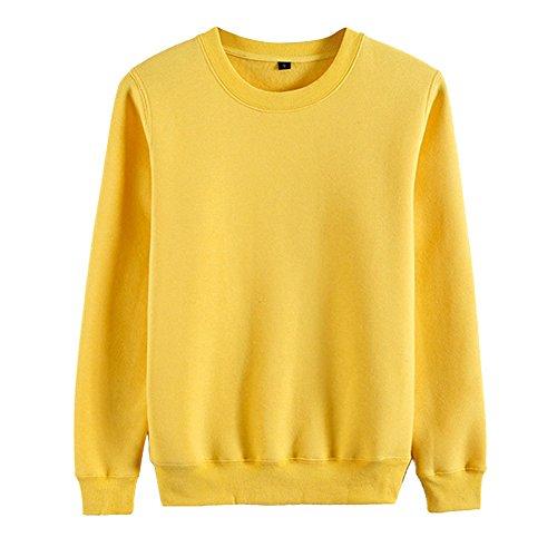 Sweat-Shirt Femme Uni T-Shirts à Cou Rond Manches Longues Pulls Tops Jaune foncé 2XL