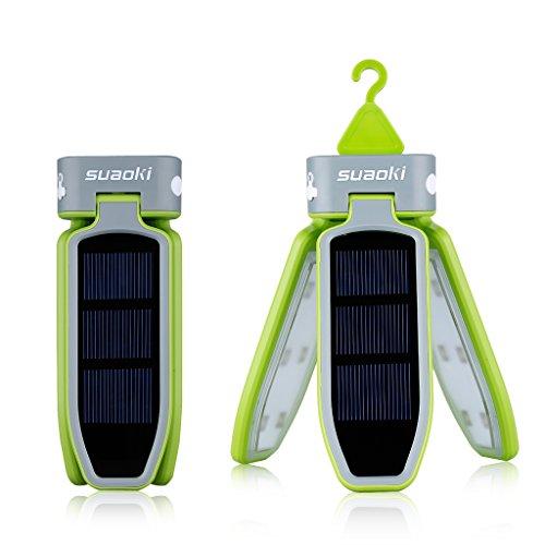 SUAOKI Camping Laterne 18 LED Solarleuchte Lampe campinglampe Faltbare Taschenlampe, USB & Solar Wiederaufladbare Laterne für Reisen, Camping, Wandern, Angeln, Außen Garten Innenhof, Notfall (Grün)