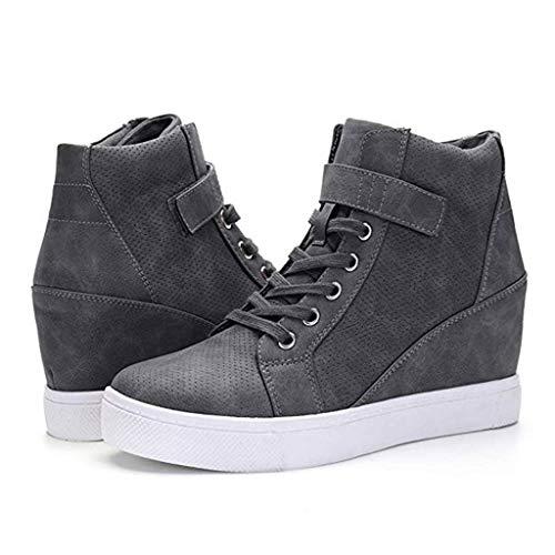 Berimaterry Botines Mujer Cuña Planos Invierno Planas Botas Tacon Casual Zapatos para Dama Plataforma 5cm Elegante Zapatillas Calzado Moda Negro Rosa Marrone Grigio 34-43