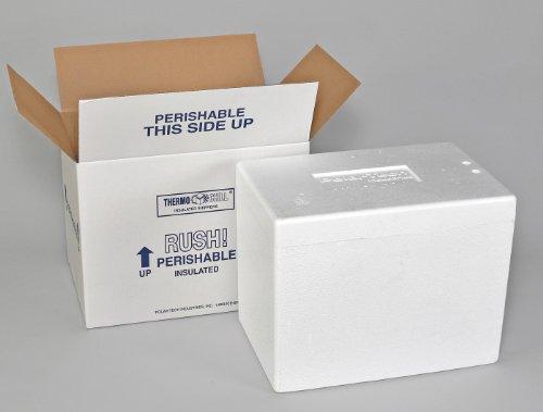 "Polar Tech 245C Thermo Chill Insulated Carton with Foam Shipper, Medium, 17"" Length x 10"" Width x 8-1/4"" Depth"