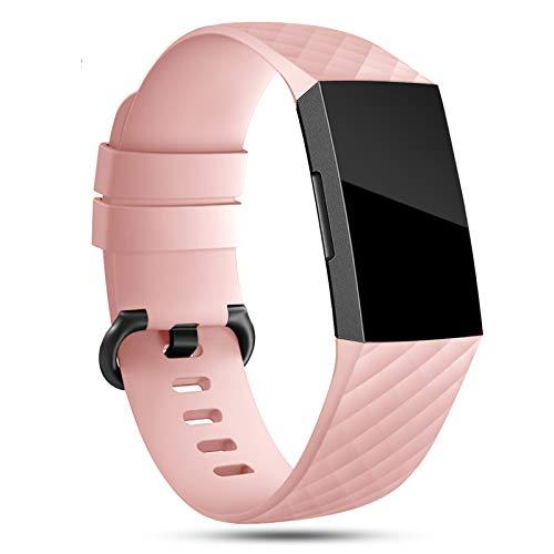 Onedream Armband Kompatibel für Fitbit Charge 3/ Charge 4 Special Edition Uhrenarmband Damen Herren, Klassisch Sport Silikon Uhr Zubehör Ersatzarmband Rosa L
