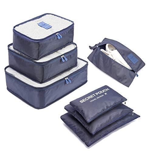 Organizzatori da Viaggio,LOSMILE Organizer Valigie Set di 7, Cubi di Imballaggio Sacchetto di Stoccaggio Perfetto di Viaggio Dei Bagagli Organizzatore.(Blu Scuro)