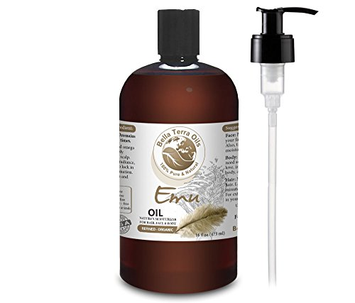 NEW Emu Oil. 16oz. Australian. Fully Refined. Organic. 100% Pure. Hair Growth Oil. Hexane-free. Reduces Inflammation. Prevents Hair Loss. Natural Moisturizer. For Hair, Skin, Nails, Stretch Marks.
