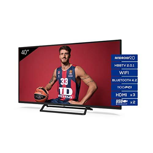 TD Systems - Televisor K40DLX11FS, Smart TV 40 Pulgadas, Android 9.0 y HBBTV, 1100 PCI Hz, 3X HDMI, 2X USB. DVB-T2/C/S2, Modo...