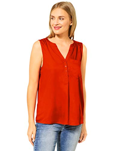 Street One Damen 342061 Solid blousetop w Splitneck Bluse, Cheeky red, 38
