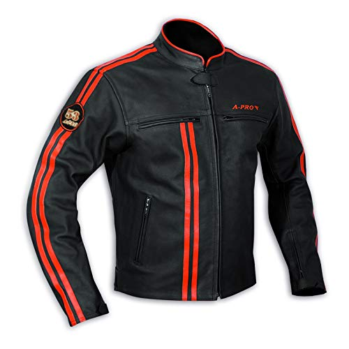 A-Pro Giacca in pelle da uomo, Biker, per Motocicletta, Protezioni certificate CE, Arancione, L