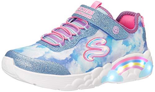 Skechers Mädchen Rainbow Racer Sneaker, Blau (Blue Mesh/Trim), 34 EU