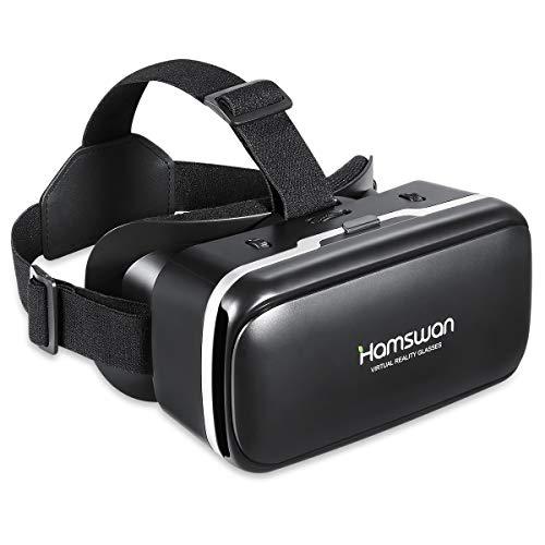 HAMSWAN Occhiali VR Compatibile con Tutti Gli Smartphone da 4,7 a 6,0 Pollici-Regalo Perfetto di Natale e di Compleanno (Nero&Nero)