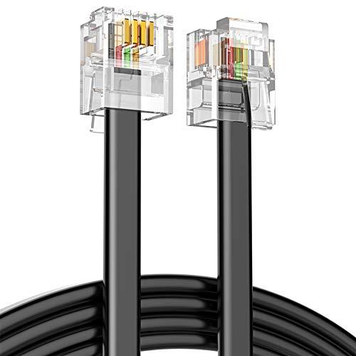 Ancable Cable Extensión Teléfono RJ11, ADSL Enchufe Telefónico Alta Velocidad XFINITY Internet Banda Ancha Macho a Macho Router y Módem a RJ11 Cable Plano Teléfono para Módem de Línea Fija Negro 10M