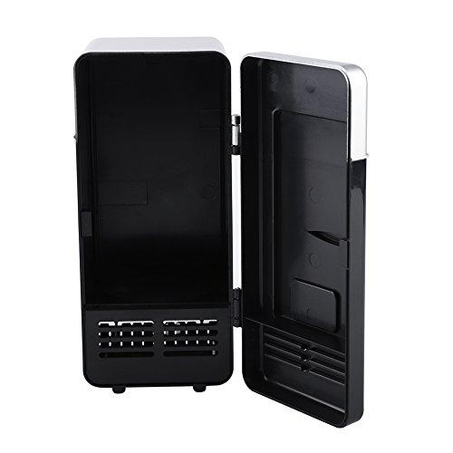 Kühlschrank, LED-Mini-USB-Kühlschrank USB-Kühlschrank, Kühler und Wärmer, geeignet für das Büro im Auto oder zu Hause, um Getränke, Cola, Dosen, Kaffee und andere Getränke(black)