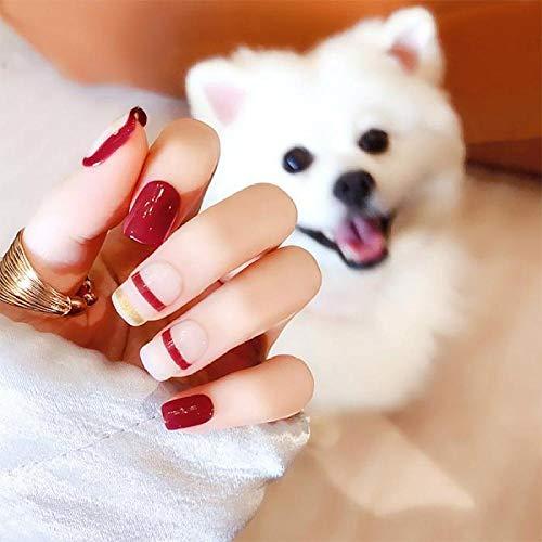 CSCH Faux ongles Simple Mode Pleine Couverture Nail Art Conseils Avec De La Colle Creative Stripe Brillant Artificielle Faux Ongles Filles Mignon Rose Couleur Faux Ongles