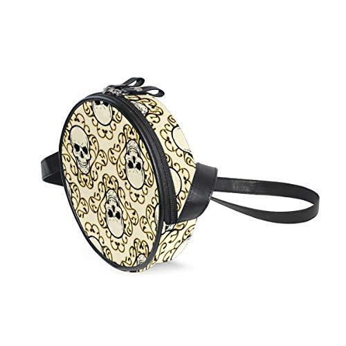 Borsa a tracolla rotonda con motivo teschio e ornamento, borsa a tracolla per bambini e donne