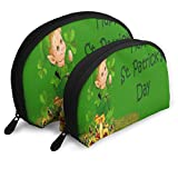Bolsa de Maquillaje Beautiful Saint Patrick's Day Wish Portable Shell Clutch Pouch For Mother Holiday 2 Pack