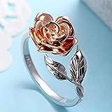 Ogquaton Damen-Ring zum Öffnen, Rosa, Silber, einfach, Ring mit Schwanz, verstellbar, modisch, Freizeit, Sterling-Silber 925, Schmuck, Braut