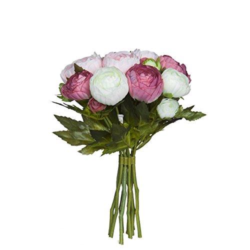 MICA Decorations 964829 Renoncule Bouquet l22d19 Rose Bouquet de Fleurs Rose Multicolore 19 x 19 x 22 cm