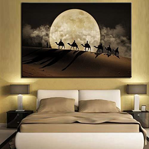 AQgyuh Puzzle 1000 Piezas Paisaje de Luna de Camello del Desierto Puzzle 1000 Piezas Adultos Juego de Habilidad para Toda la Familia, Colorido Juego de ubicación.50x75cm(20x30inch)