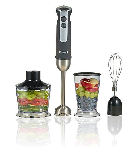 1000W Stabmixer Set | 500ml Küchenmaschinenaufsatz | 600ml Becher | Edelstahl Schneebesen | Edelstahl-Mixstab