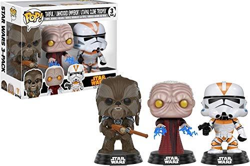 Set 3 Figuras Pop! Star Wars Tarfful Unhooded Emperor Utapau Clone 2017 Fall Convention Exclusive