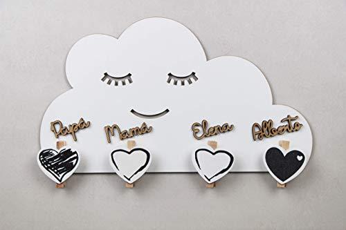 KARIVOO Colgador de pared Nube con pinzas personalizado con nombre para colgar mascarillas, fotos, notas, fechas, recetas y citas. Fabricado artesanal en madera.