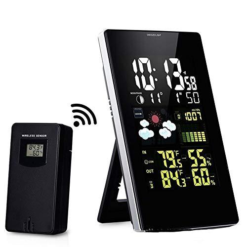 Hygrometer Digitale Binnenkamer, Multifunctionele Thermometer Draadloze Kleur Scherm Weersverwachting Weerstation Klok Wekker Met 1 * Zender