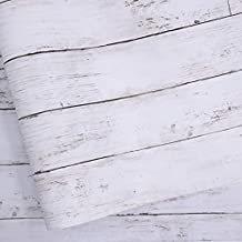 White Gray Wood Paper 17.71 in X 118 in Self-Adhesive Removable Wood Peel and Stick Wallpaper Decorative Wall Covering Vintage Wood Panel Interior Film for Christmas Decoration