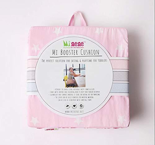 Minene Baby Toddler Booster Stoel met riemen – Kussen Stevig Verstelbaar Harnas Wasbaar Kussen Eetstoel Pad Op De Ga Zitzak Reizen Opslag Award Winnen (Pink met Witte Sterren)