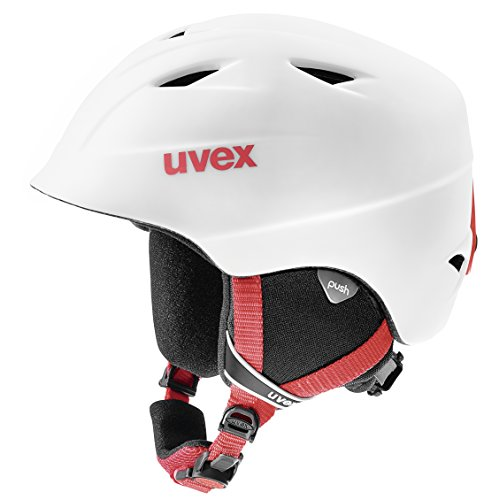Uvex Kinder Airwing 2 Pro Skihelm, White-Red Mat, 48-52 cm