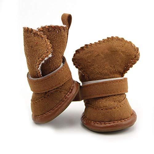 Naisicatar Zapatos mascotas botas de nieve del perro de perrito de la pata del protector con cierre desmontable para perros pequeos y gatos medianos, tamao 3, regalo de Brown para el invierno