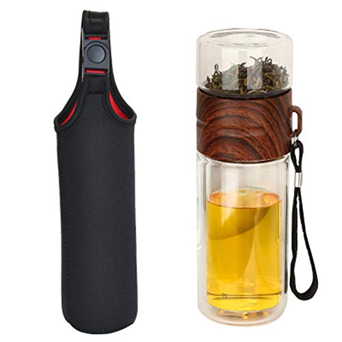 Glomixs Double Wall Glass Water Bottle Tea and Water Separation Bottle Mug Cup with Tea Infuser Home Office