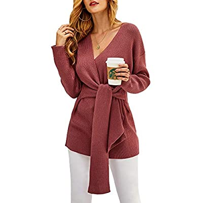 Amazon - 30% Off on Womens Oversized Wrap Front Sweaters Long Sleeve V Neck Tie Knot