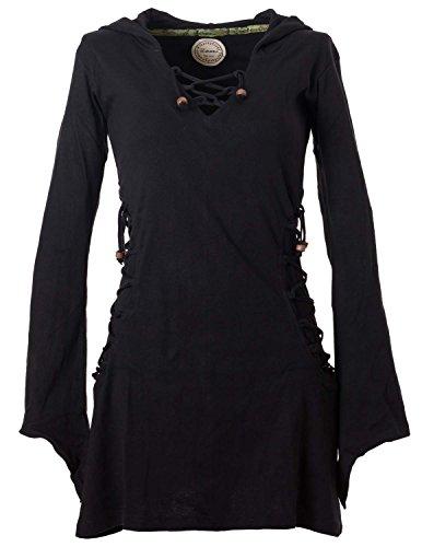 Vishes - Alternative Bekleidung - Elfenkleid mit Zipfelkapuze und Bändern zum Schnüren schwarz 36-38 (XS)